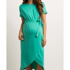 Maternity Jade Sash Tie Wrap Hem Midi Dress
